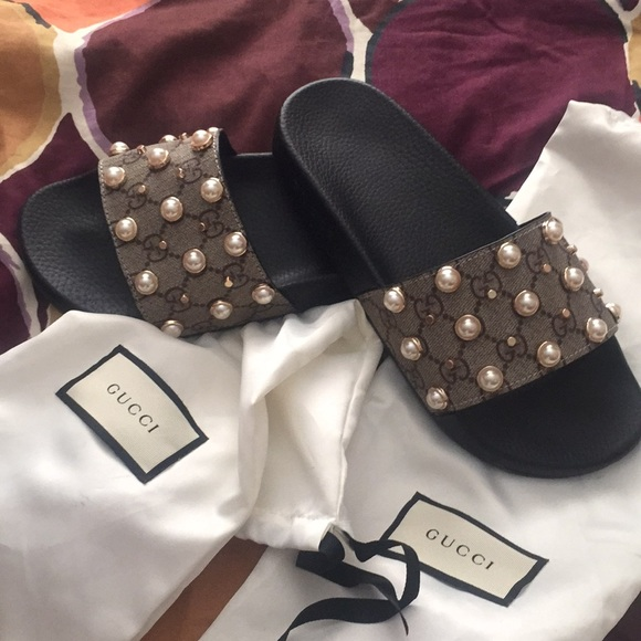 135ef84c5 Gucci Shoes | Pearl Slides | Poshmark